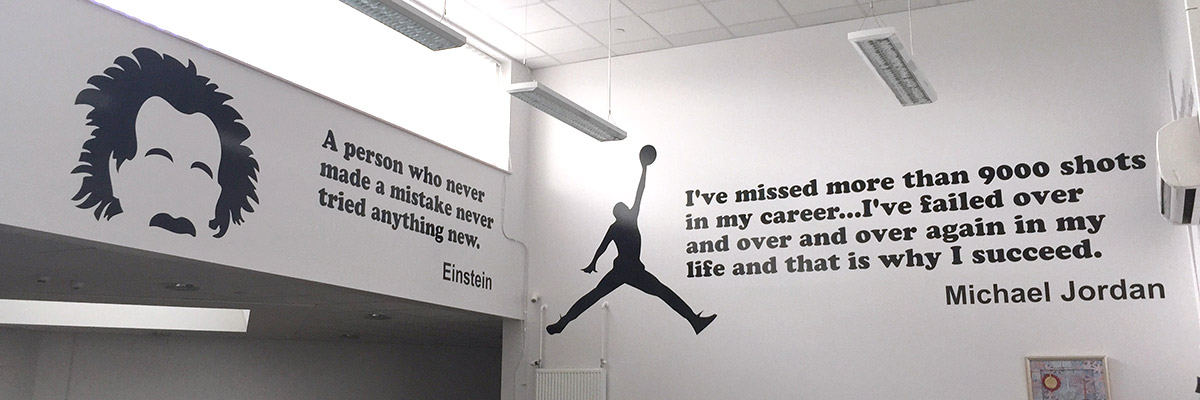 Vinyl quotes for a Primary School's walls