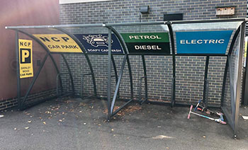 Graphics fitted to a bike shed in the Nursery area at a Primary School