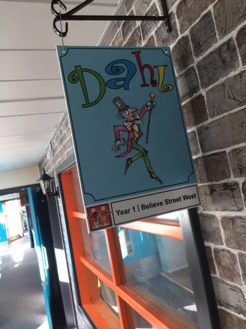 Classroom name hanging sign for a Primary School