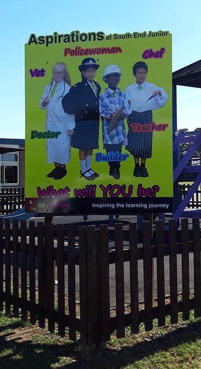 Aspirations post sign at a Junior school