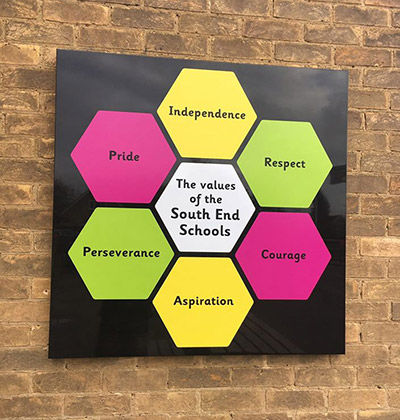 School Values outdoor sign for a Primary School