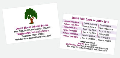 Primary School term date cards