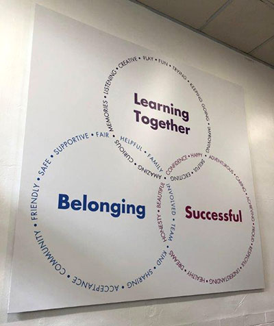 School Values sign fitted to a wall at a Primary School