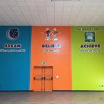 School values signage on hall wall