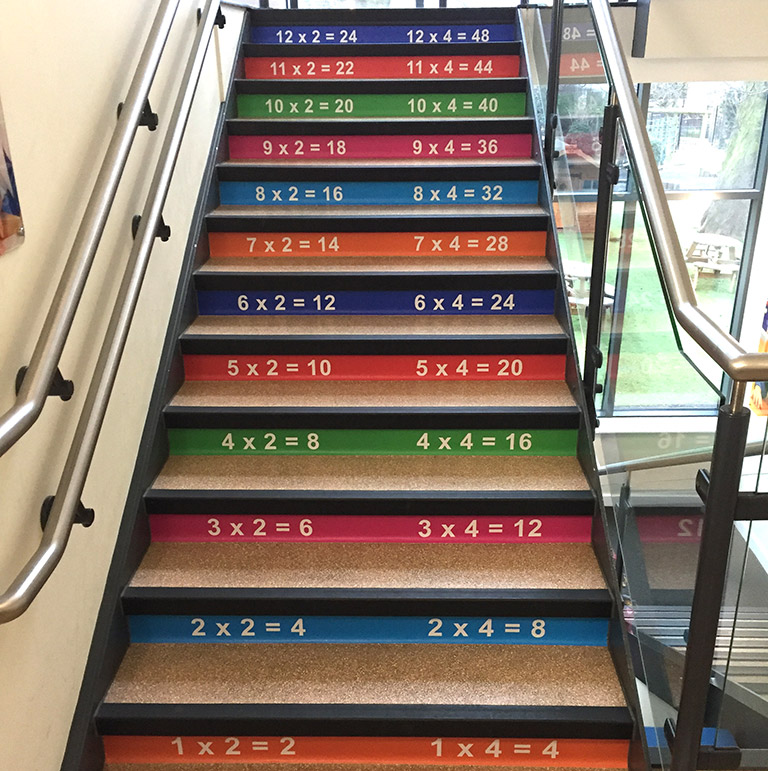 Times tables stair graphics for a Primary School