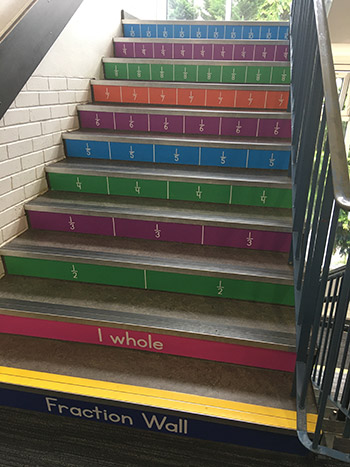 Fractions stair graphics for a Primary School