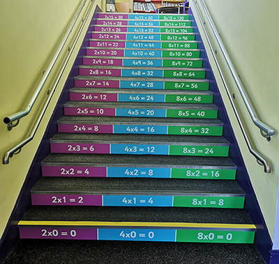 Times table stair graphics for schools