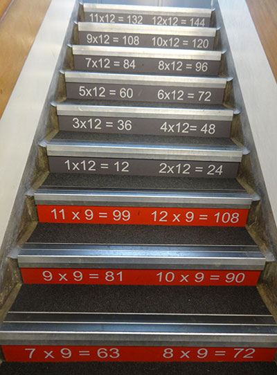 Times tables stair graphics at a Primary School