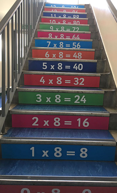 8 Times tables stair graphic panels at a Primary School