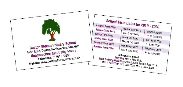 School term date cards