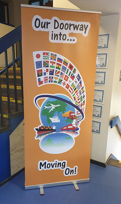 Banner stand for a Primary School