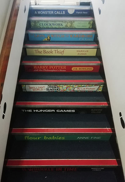 Book spine stair graphics for schools UKS2