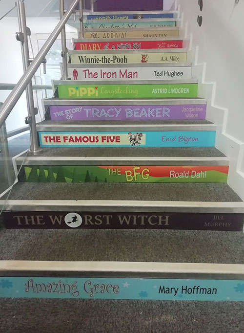 Book spine stair graphics for Primary schools