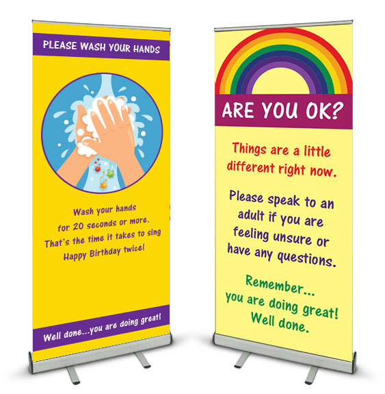 Coronavirus Covid-19 Banner Stands for schools