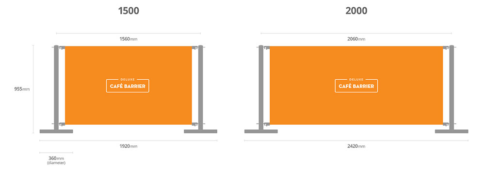 Deluxe cafe barrier sizes