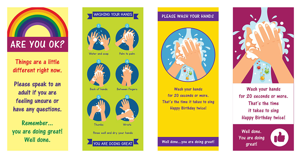 Roller banner stand with Coronavirus Covid-19 design for schools