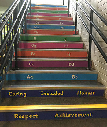 Literacy alphabet stair graphics for Primary Infant and Junior Schools