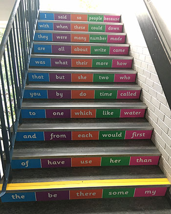Literacy common words stair graphics for Infant Junior and Primary Schools