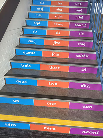Literacy numbers in different languages stair graphics for Primary Infant Junior Schools