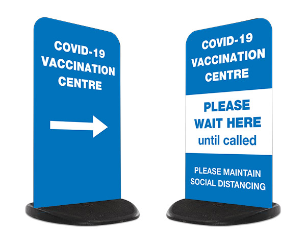 Covid-19 Vaccination Centre signs pavement sign stands