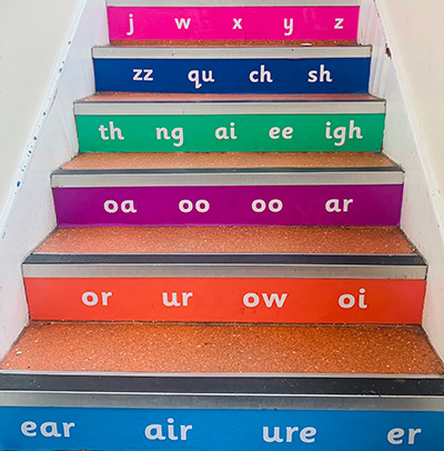 Phonics literacy stair graphics for schools