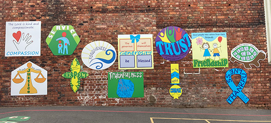 Wall signage designed by the children at this school