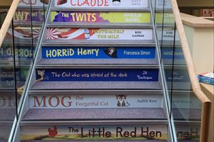 Book spine stair graphics