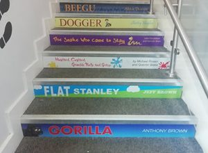 Book spine stair graphics for Primary schools KS1