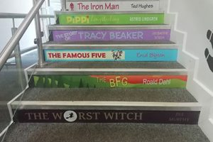 Book spine stair graphics for Primary schools LKS2