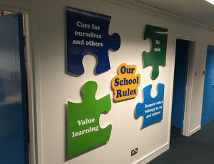 School rules signs, jigsaw shaped, wall mounted