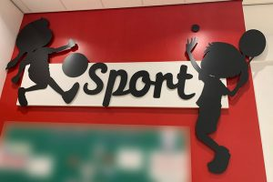 Silhouette signs for school sports area