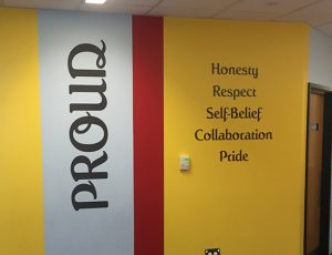Primary School Values wall vinyl graphics signage
