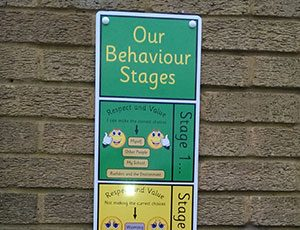 Infant school behaviour sign