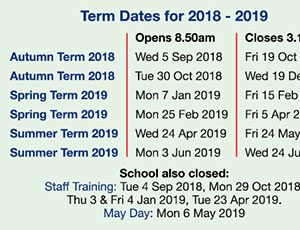 School term date cards back